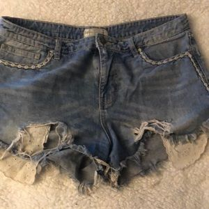 GUC Free People jean shredded shorts.
